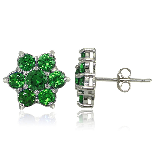 Sterling Silver Created Emerald Flower Stud Earrings
