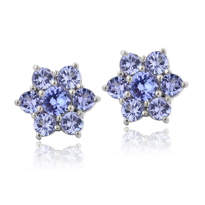 Sterling Silver 2ct TGW Tanzanite Flower Stud Earrings
