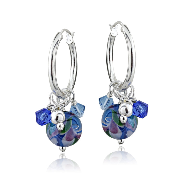 Sterling Silver Hand Blown Millefiori Blue Artisan Glass & Crystal Cluster Hoop Earrings