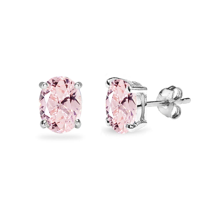 Sterling Silver Created Morganite 7x5mm Oval Solitaire Dainty Stud Earrings