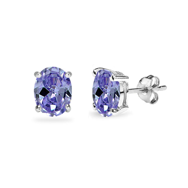 Sterling Silver Simulated Tanzanite 7x5mm Oval Solitaire Dainty Stud Earrings