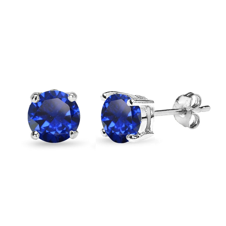 Sterling Silver Created Blue Sapphire 7mm Round-Cut Solitaire Stud Earrings