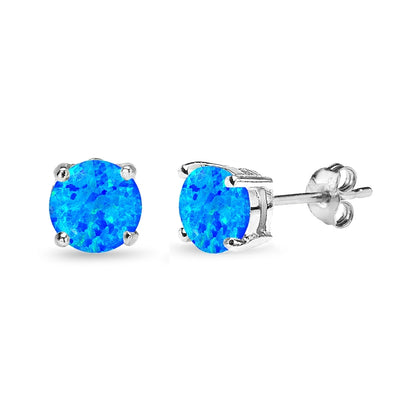 Sterling Silver Simulated Blue Opal 7mm Round-Cut Solitaire Stud Earrings
