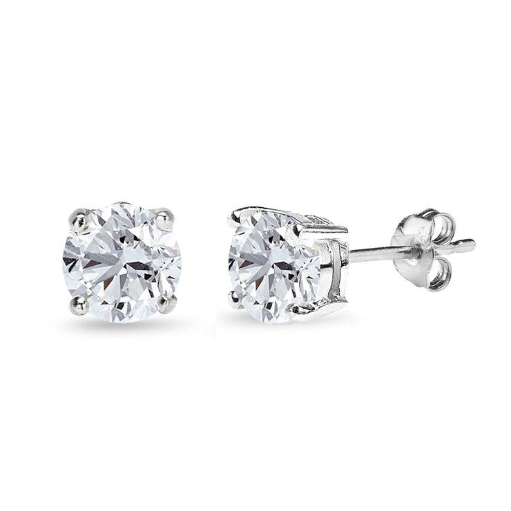 Sterling Silver Created White Sapphire 7mm Round-Cut Solitaire Stud Earrings