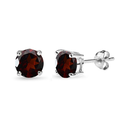 Sterling Silver Garnet 7mm Round-Cut Solitaire Stud Earrings
