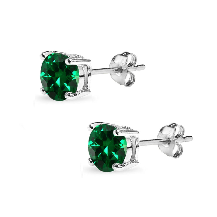 Sterling Silver Created Emerald 7mm Round-Cut Solitaire Stud Earrings