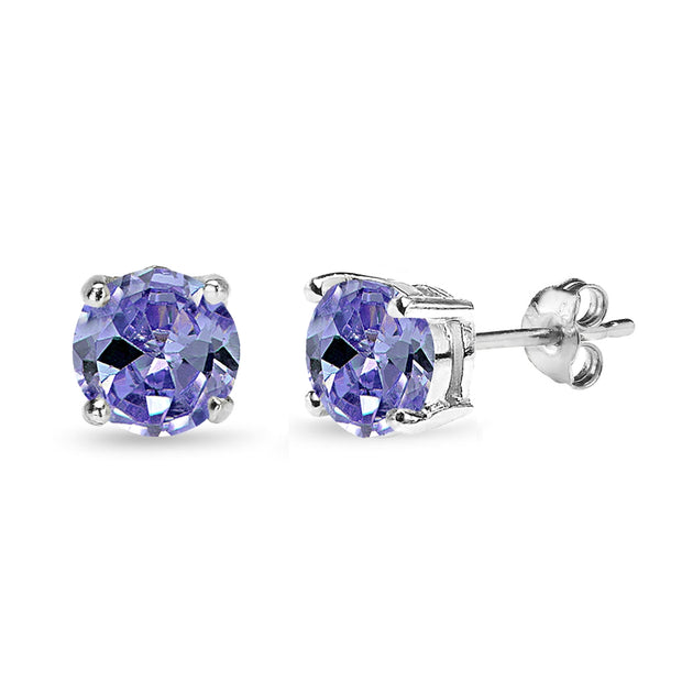 Sterling Silver Simulated Tanzanite 7mm Round Solitaire Dainty Stud Earrings