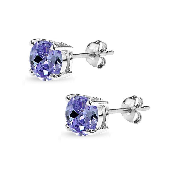 Sterling Silver Created Tanzanite 7mm Round Solitaire Dainty Stud Earrings