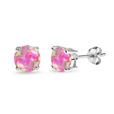 Sterling Silver Simulated Pink Opal 7mm Round-Cut Solitaire Stud Earrings