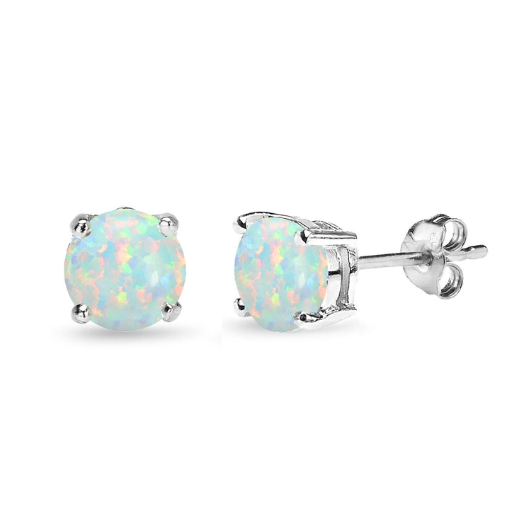 Sterling Silver Simulated White Opal 7mm Round-Cut Solitaire Stud Earrings