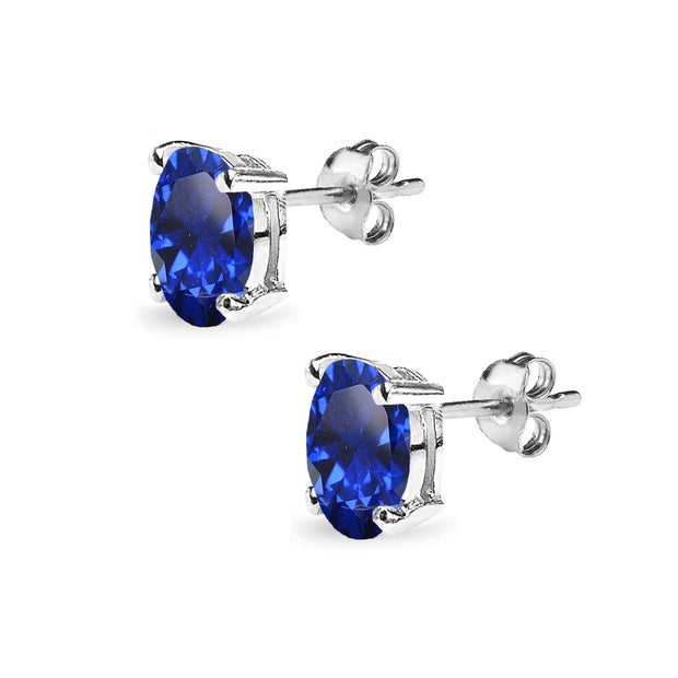 Sterling Silver Created Blue Sapphire 8x6mm Oval-Cut Solitaire Stud Earrings