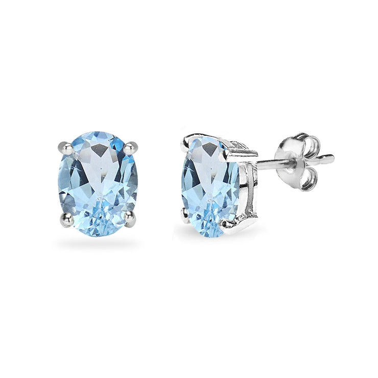 Sterling Silver Blue Topaz 8x6mm Oval-Cut Solitaire Stud Earrings