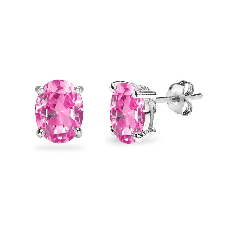 Sterling Silver Created Pink Sapphire 8x6mm Oval Solitaire Dainty Stud Earrings