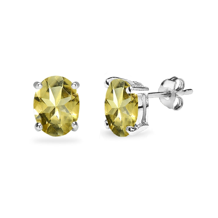 Sterling Silver Citrine 8x6mm Oval-Cut Solitaire Stud Earrings