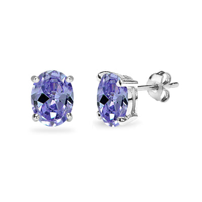 Sterling Silver Simulated Tanzanite 8x6mm Oval Solitaire Dainty Stud Earrings