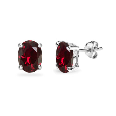 Sterling Silver Created Ruby 8x6mm Oval-Cut Solitaire Stud Earrings