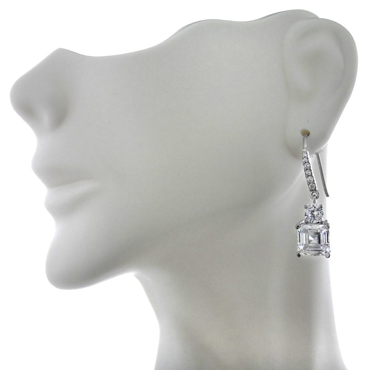 Sterling Silver Asscher-Cut Cubic Zirconia Dangle  Earrings