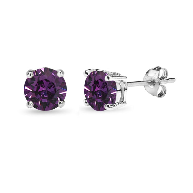 Sterling Silver 6mm Purple Round Solitaire Stud Earrings Made with Swarovski Crystals