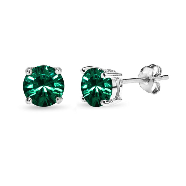 Sterling Silver 6mm Green Round Solitaire Stud Earrings Made with Swarovski Crystals