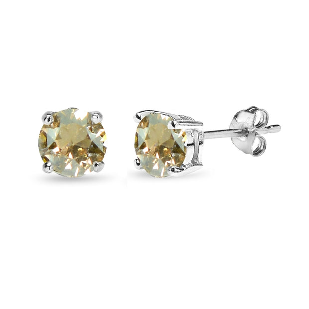 Sterling Silver 6mm Golden Shadow Round Solitaire Stud Earrings Made with Swarovski Crystals