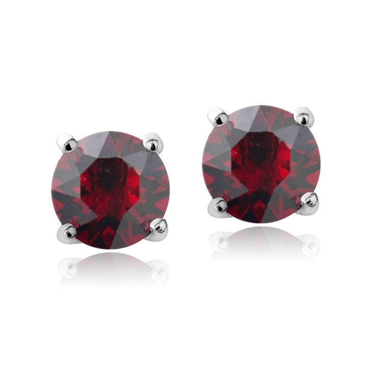 Sterling Silver 6mm Dark Red Round Solitaire Stud Earrings Made with Swarovski Crystals