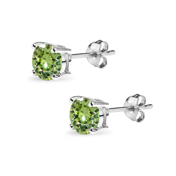 Sterling Silver 6mm Light Green Round Solitaire Stud Earrings Made with Swarovski Crystals
