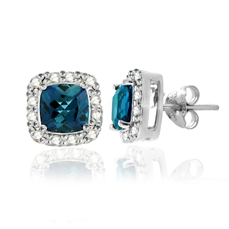 Sterling Silver 2.1 ct London Blue Topaz & 1/8 ct Diamond Stud Earrings