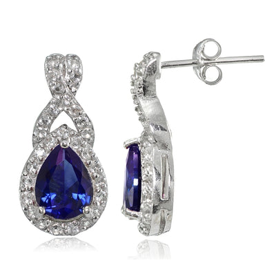 Sterling Silver Created Blue Sapphire and White Topaz X and Teardrop Earrings