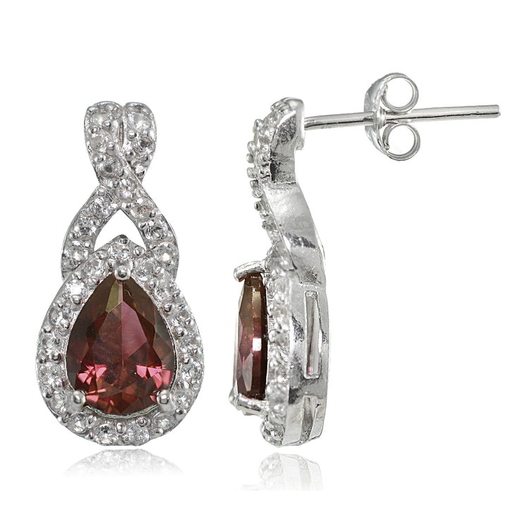 Sterling Silver Garnet and White Topaz X and Teardrop Earrings