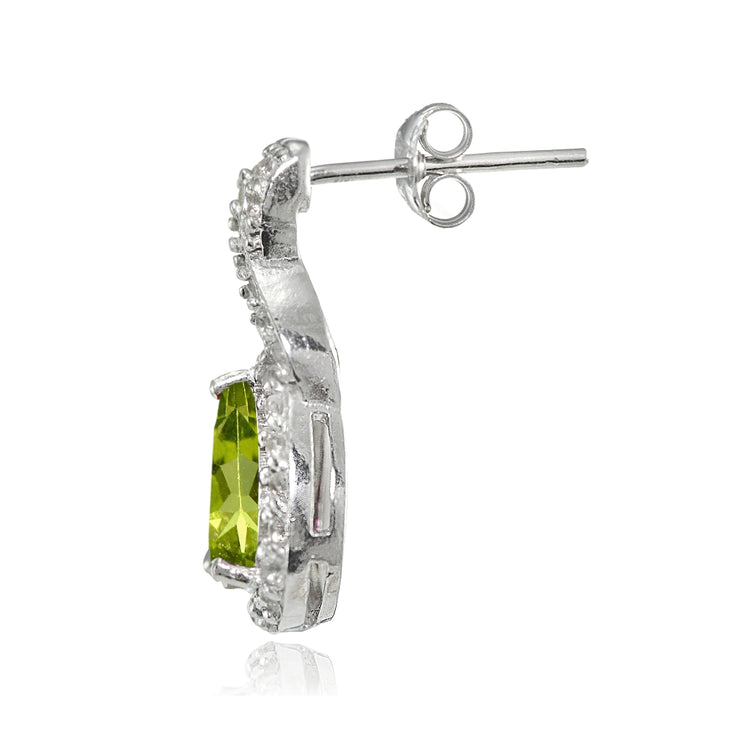 Sterling Silver Peridot and White Topaz X and Teardrop Earrings
