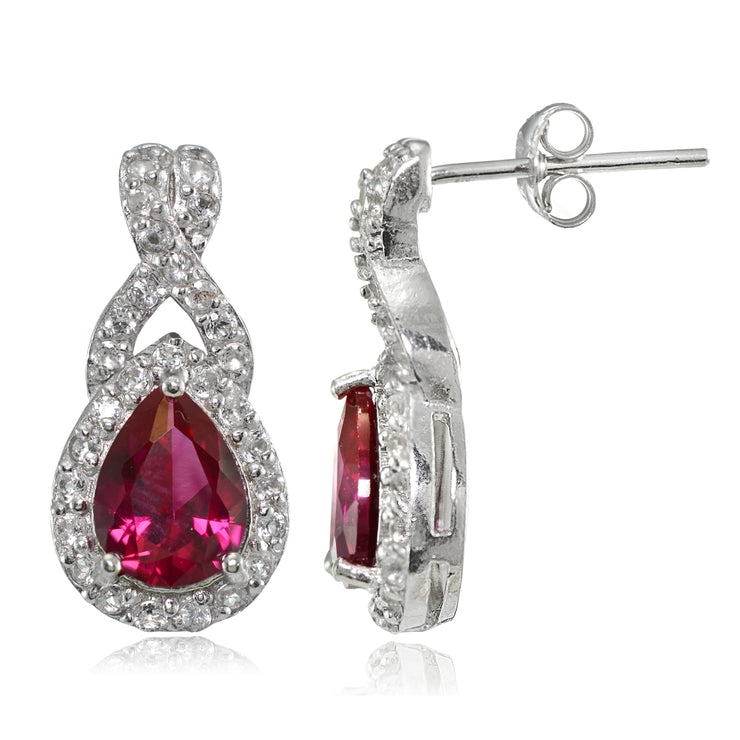 Sterling Silver Created Ruby and White Topaz X and Teardrop Earrings