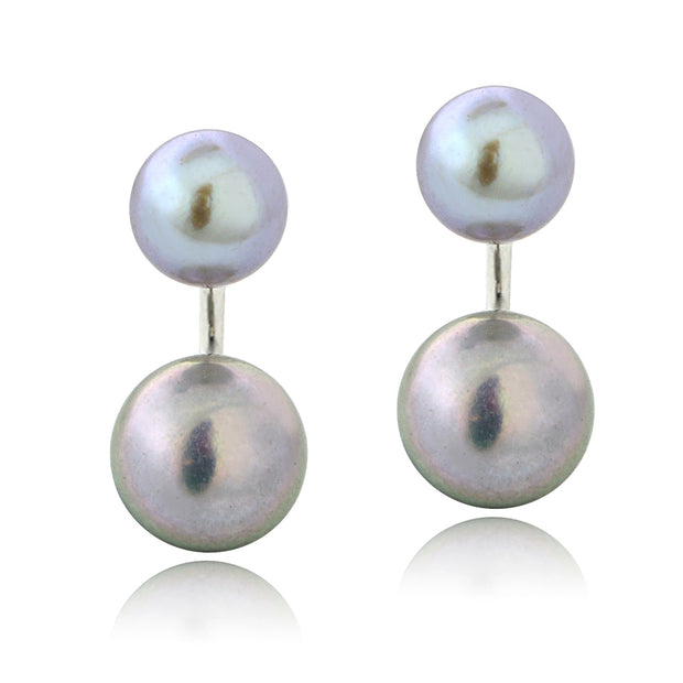 Sterling Silver Gray Freshwater Cultured Pearl Front-Back Earrings