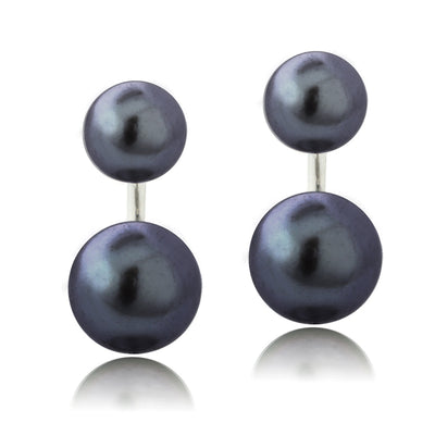 Sterling Silver Peacock Freshwater Cultured Pearl Front-Back Earrings