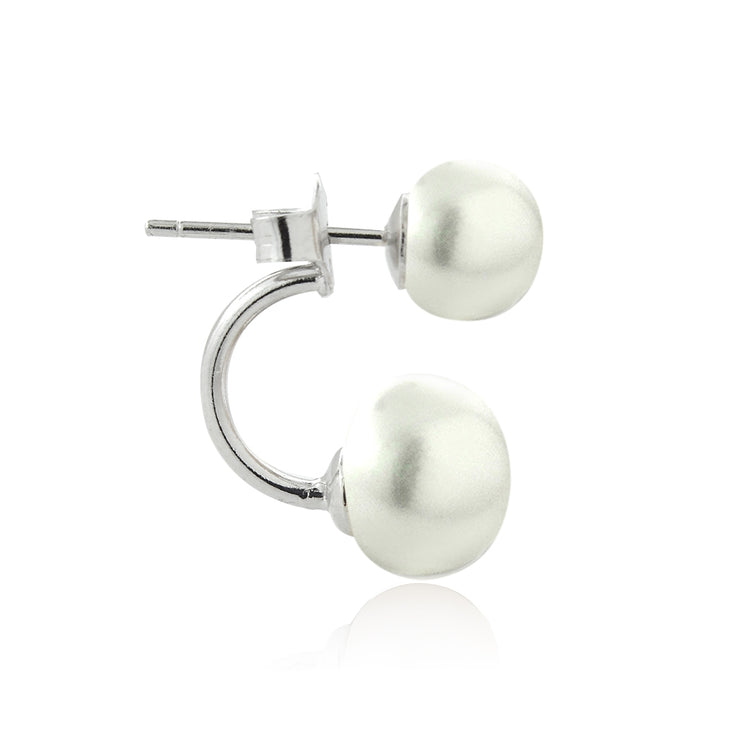 Sterling Silver White Freshwater Cultured Pearl Front-Back Earrings