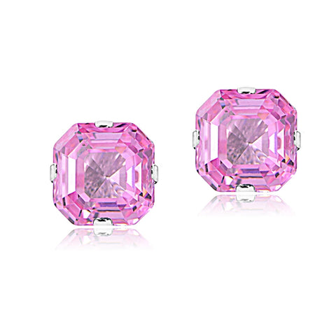 Sterling Silver 6mm Asscher-Cut Light Pink Cubic Zirconia Stud Earrings