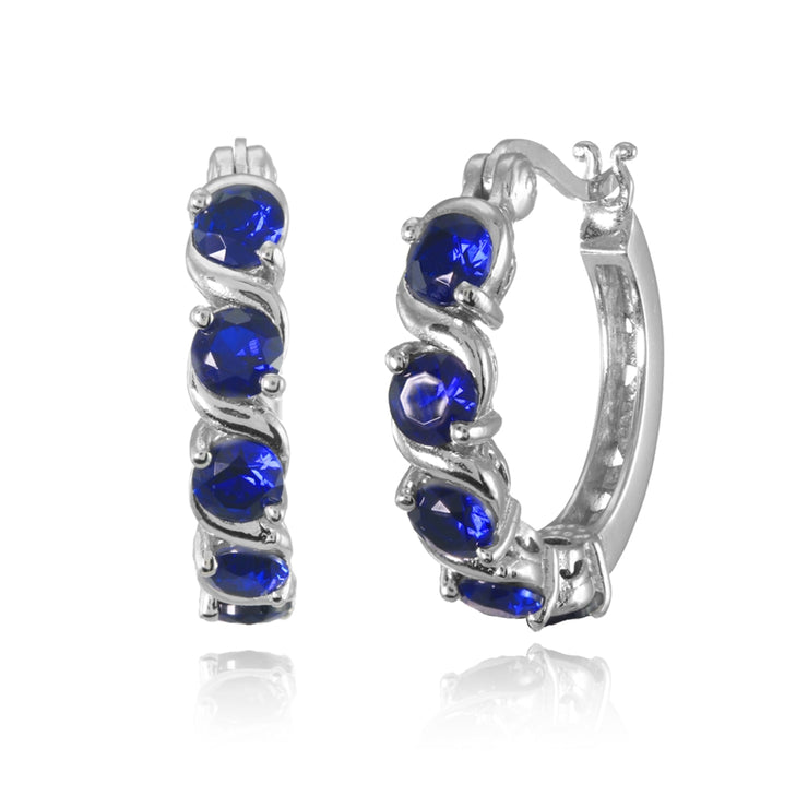 Sterling Silver Created Blue Sapphire S Design Round Hoop Earrings
