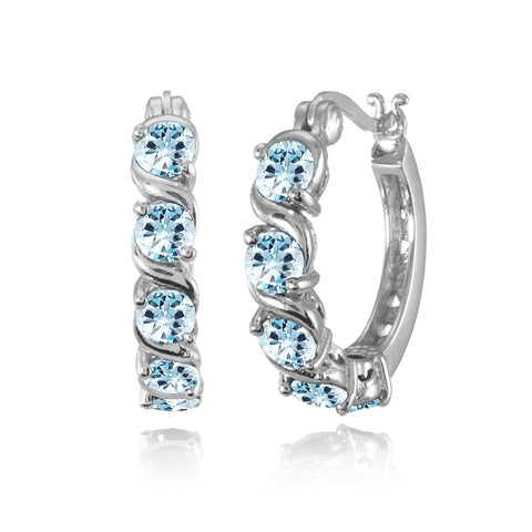 Sterling Silver Blue Topaz S Design Round Hoop Earrings