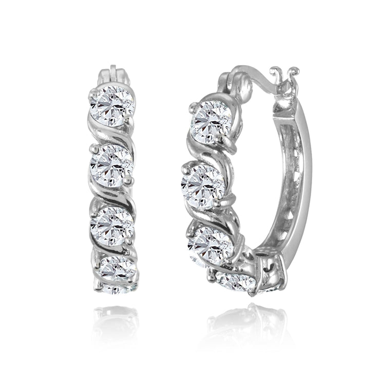 Sterling Silver Created White Sapphire S Design Round Hoop Earrings