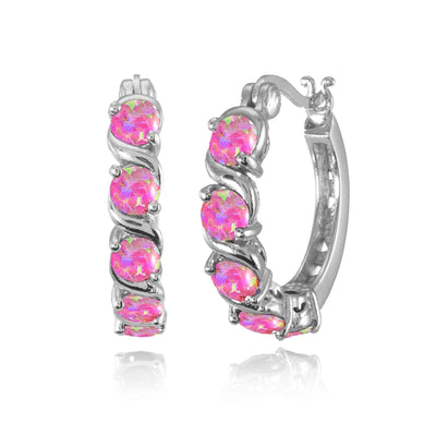 Sterling Silver Simulated Pink Opal S Design Round Hoop Earrings