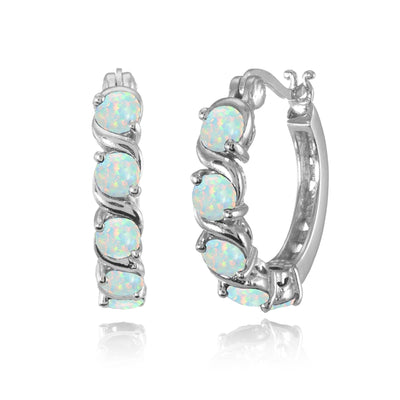 Sterling Silver Simulated White Opal S Design Round Hoop Earrings