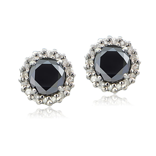 Sterling Silver 1.15ct tdw Black & White Diamond Halo Stud Earrings