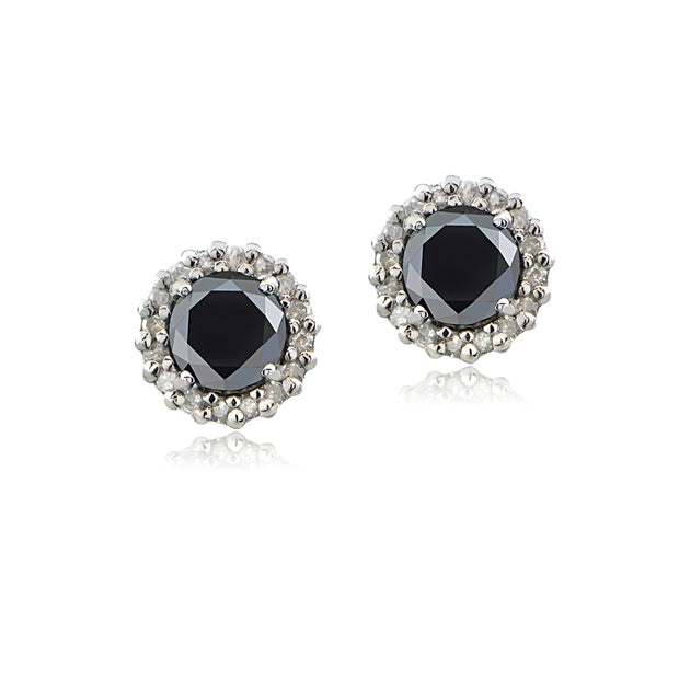 Sterling Silver .65ct tdw Black & White Diamond Halo Stud Earrings