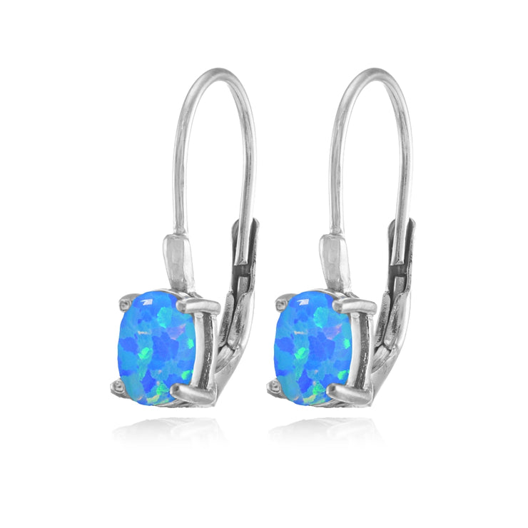 Sterling Silver Created Blue Opal 6x4mm Oval Leverback Earrings