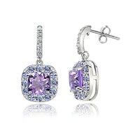 Sterling Silver White Topaz with 2.75ct TGW Amethyst and 1ct TGW Tanzanite Square Dangle Earrings
