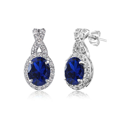 Sterling Silver Created Blue Sapphire & White Topaz Oval X Drop Earrings