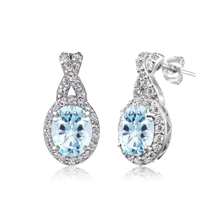 Sterling Silver Blue & White Topaz X and Oval Drop Earrings