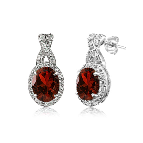 Sterling Silver Garnet & White Topaz X and Oval Drop Earrings