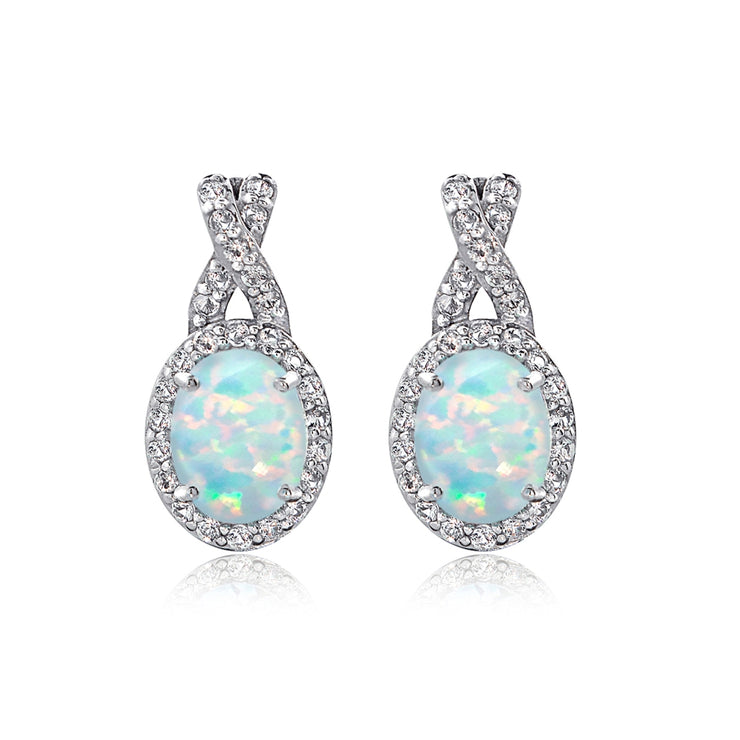 Sterling Silver Created White Opal & White Topaz X and Oval Drop Earrings