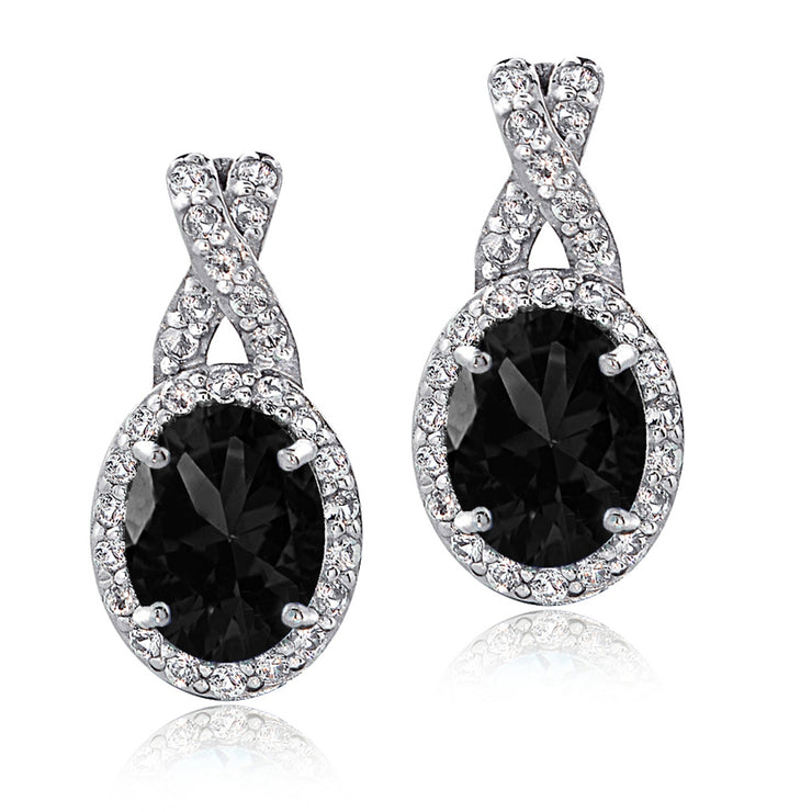 Sterling Silver Black Sapphire & White Topaz X and Oval Drop Earrings