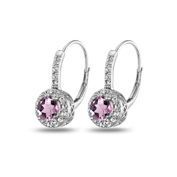 Sterling Silver Created Alexanderite & White Topaz Round Dainty Halo Leverback Earrings